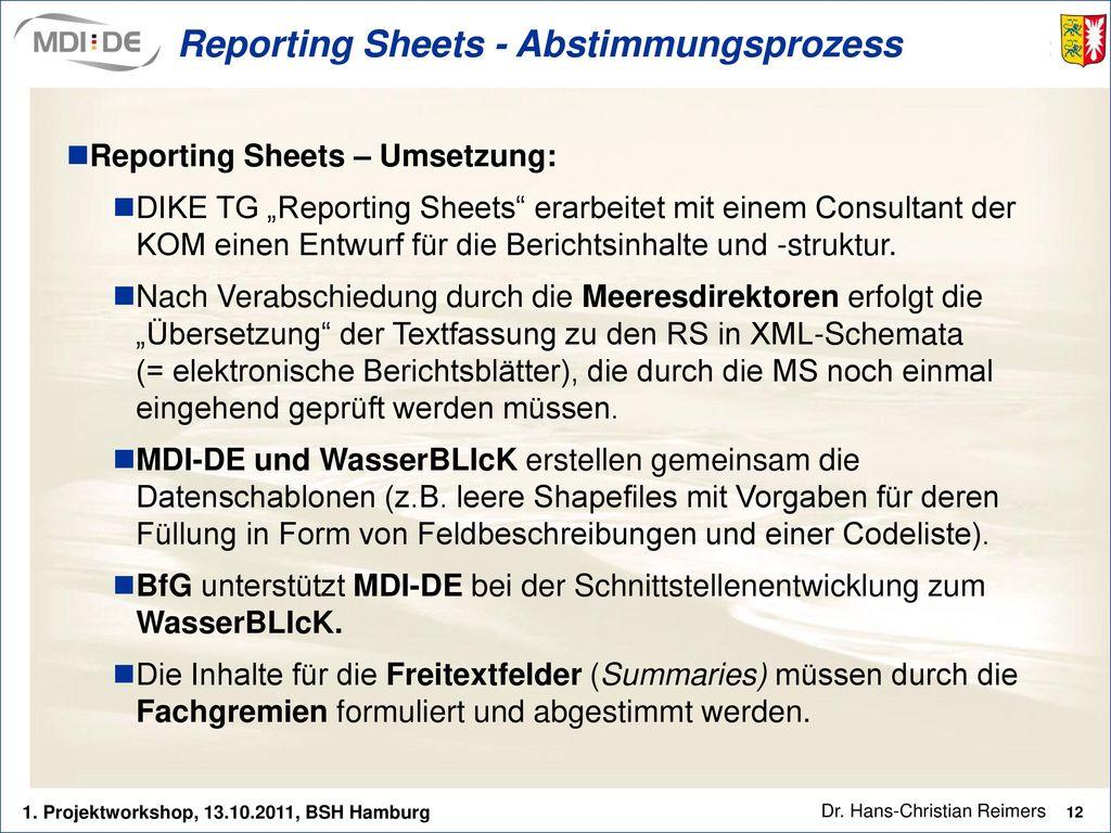Reporting Sheets - Abstimmungsprozess
