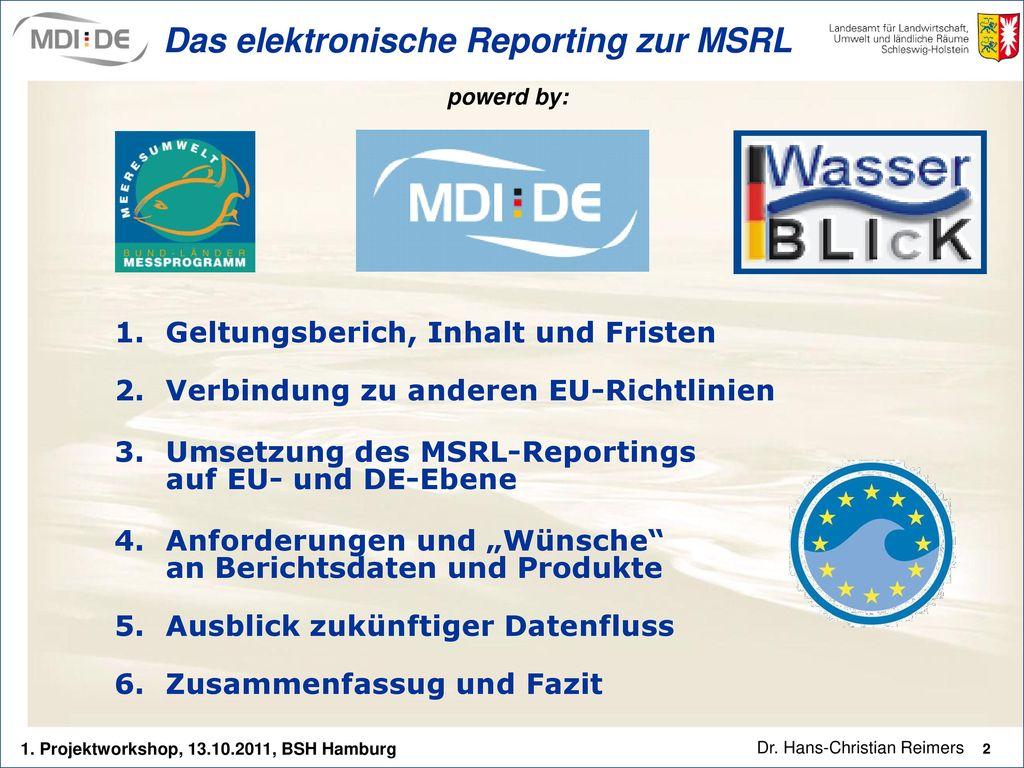 Das elektronische Reporting zur MSRL