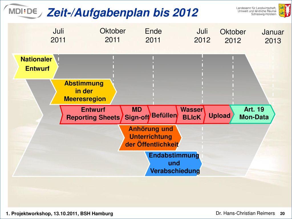 Zeit-/Aufgabenplan bis 2012