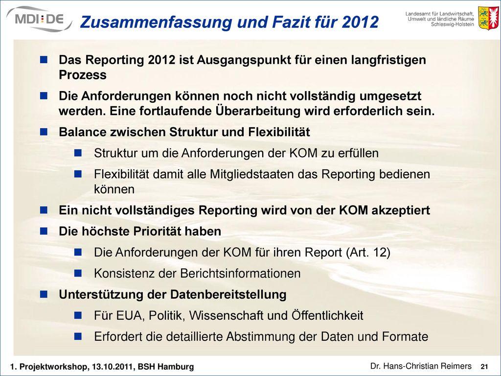 Zusammenfassung und Fazit für 2012