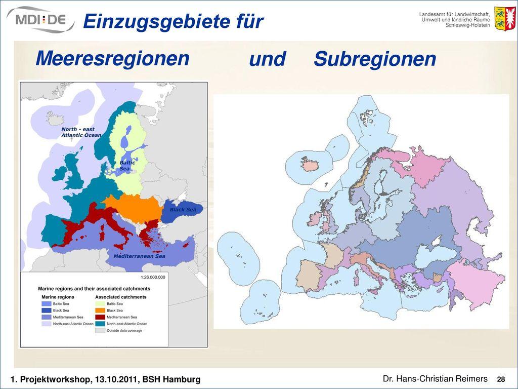 Meeresregionen und Subregionen