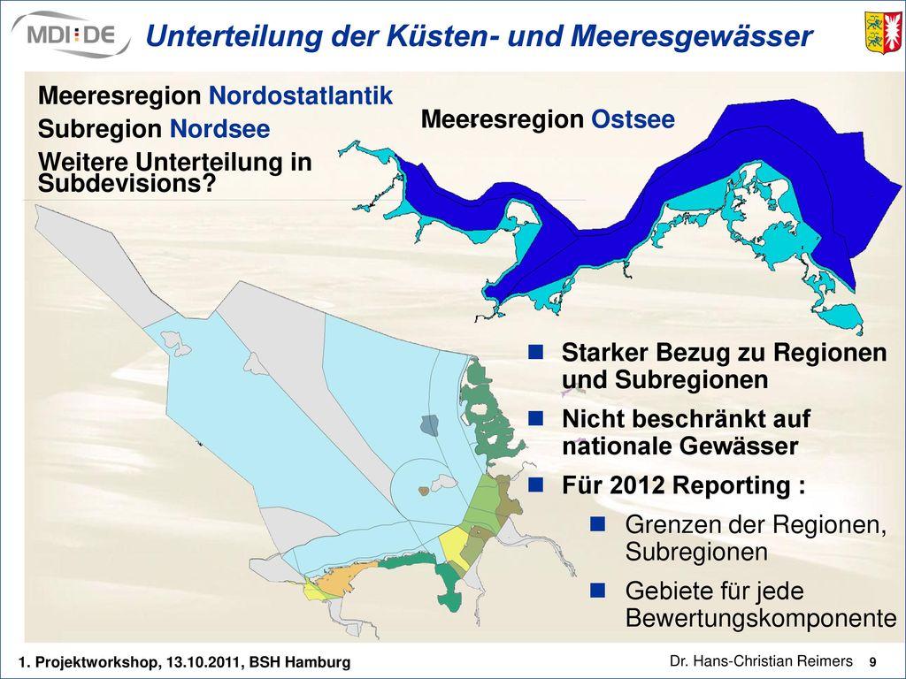 Unterteilung der Küsten- und Meeresgewässer