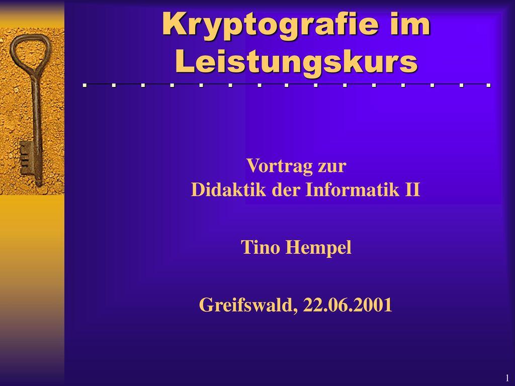 Kryptografie im Leistungskurs