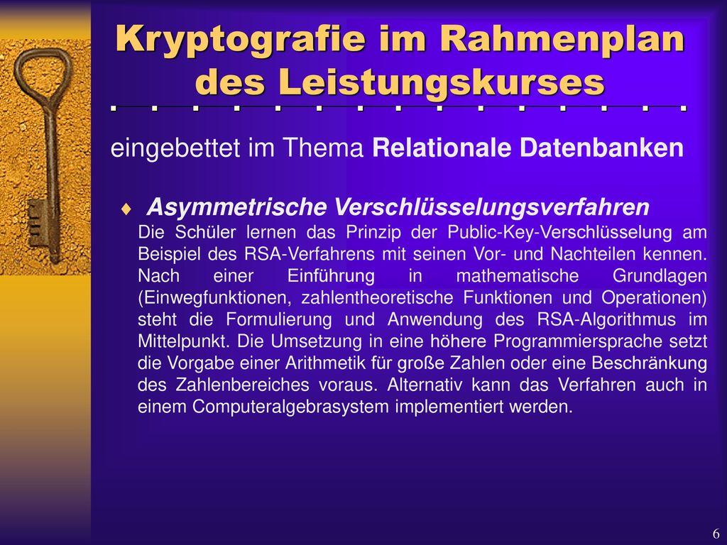 Kryptografie im Rahmenplan des Leistungskurses