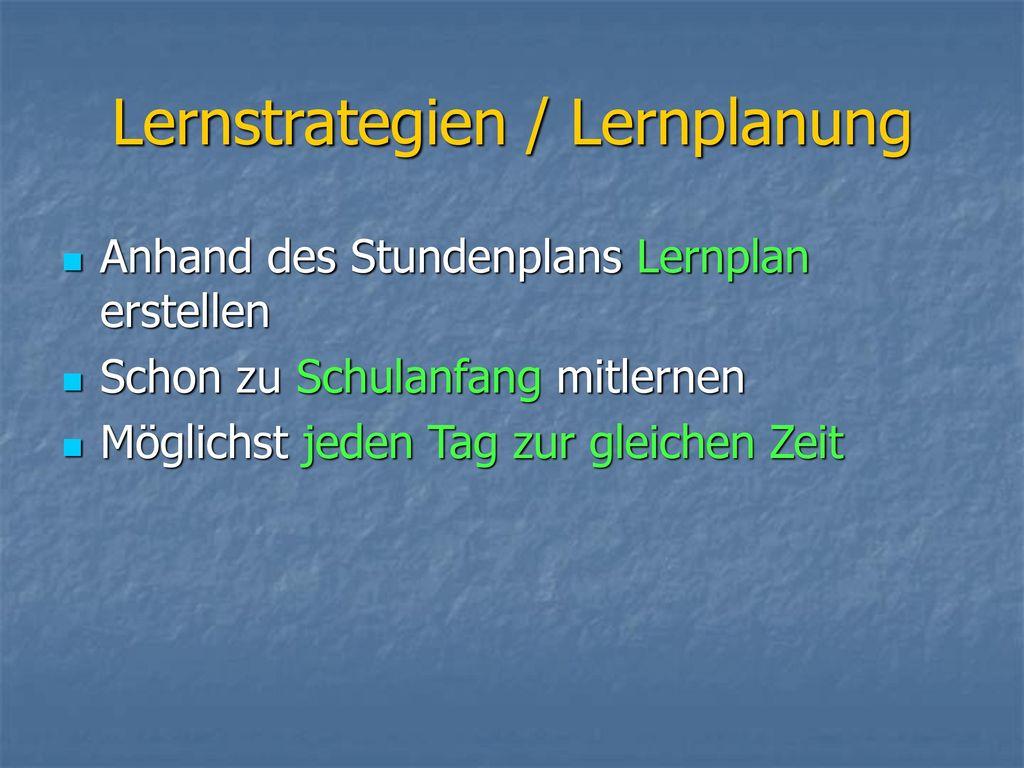 Lernstrategien / Lernplanung