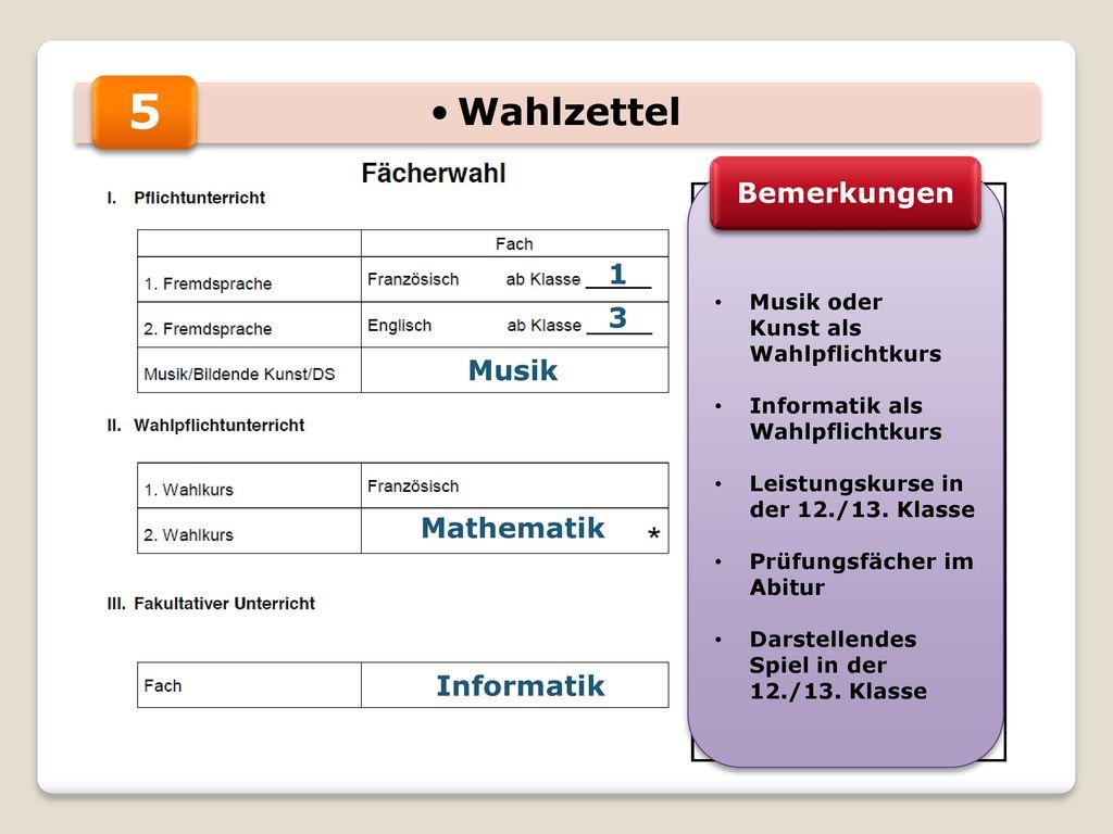 5 Wahlzettel Bemerkungen 1 3 Musik Mathematik Informatik