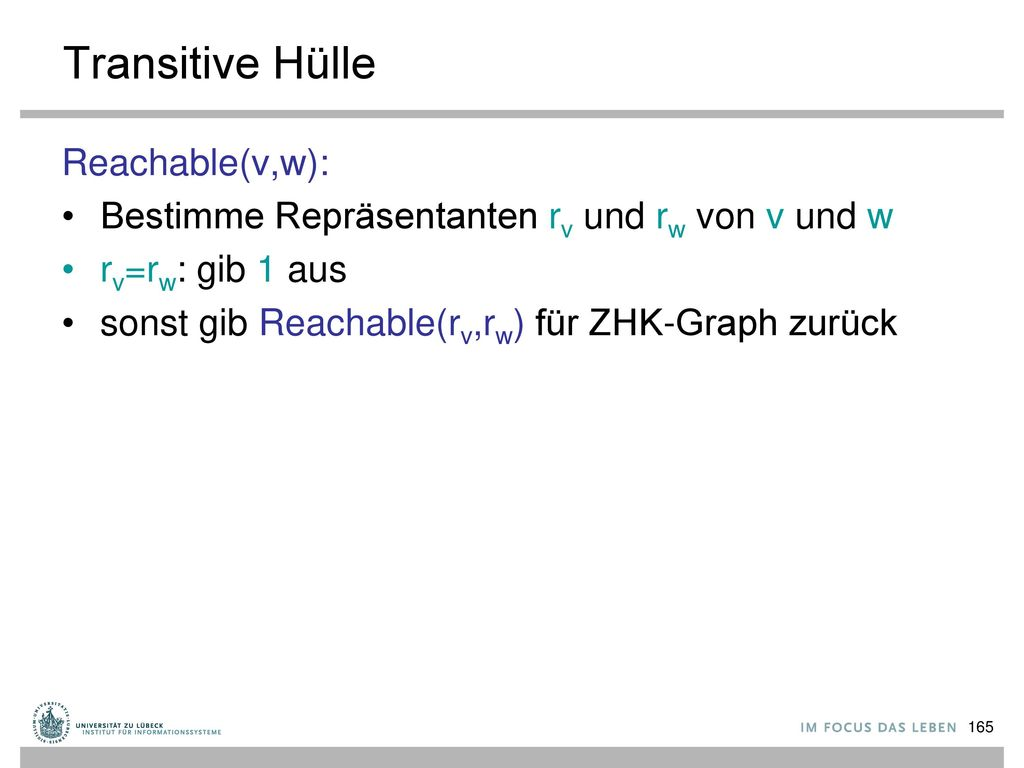 Transitive Hülle Reachable(v,w):