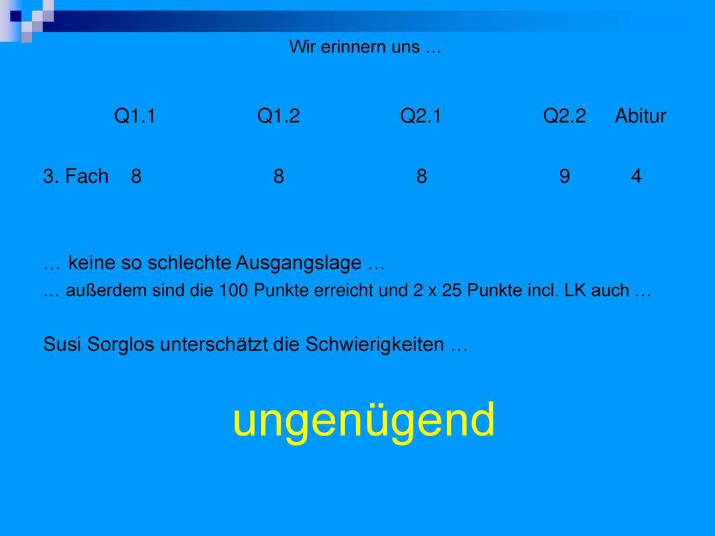 ungenügend Q1.1 Q1.2 Q2.1 Q2.2 Abitur 3. Fach 8 8 8 9 4
