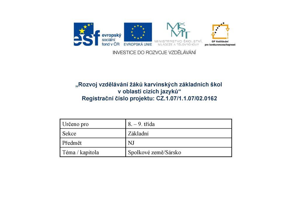 Registrační číslo projektu: CZ.1.07/1.1.07/02.0162