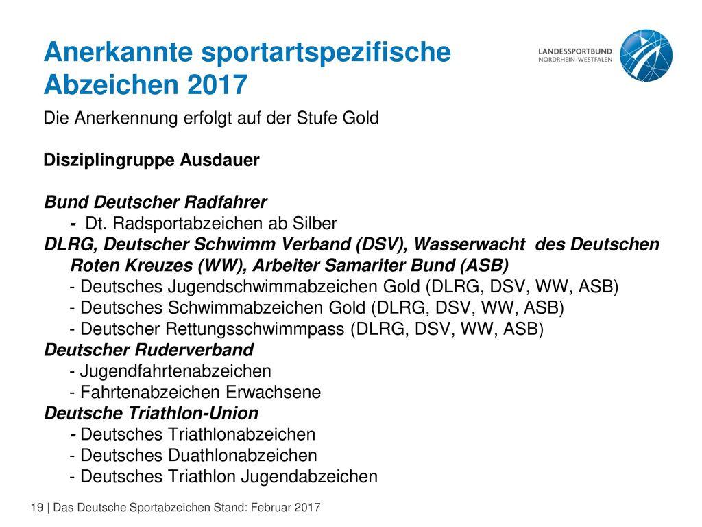 Anerkannte sportartspezifische Abzeichen 2017