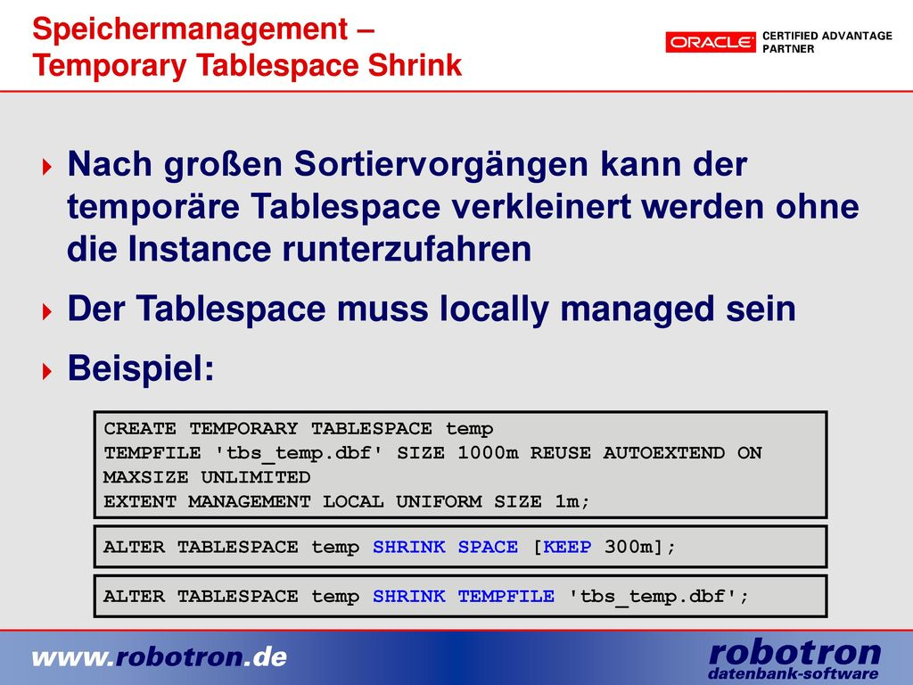 Speichermanagement – Temporary Tablespace Shrink