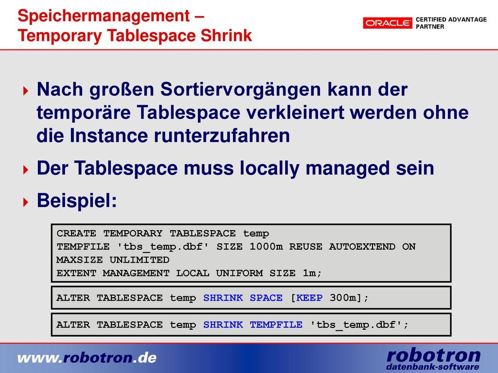 Speichermanagement – Temporary Tablespace Shrink
