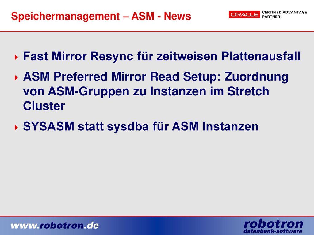Speichermanagement – ASM - News