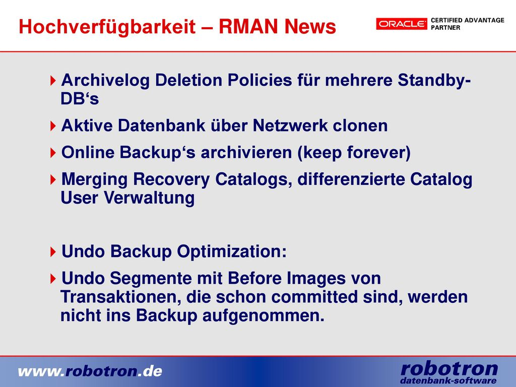 Hochverfügbarkeit – RMAN News