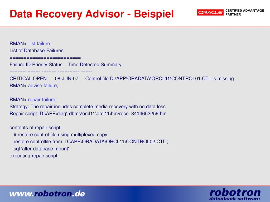 Data Recovery Advisor - Beispiel