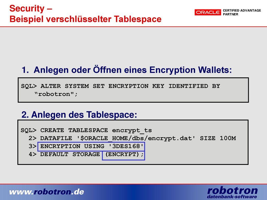 Security – Beispiel verschlüsselter Tablespace