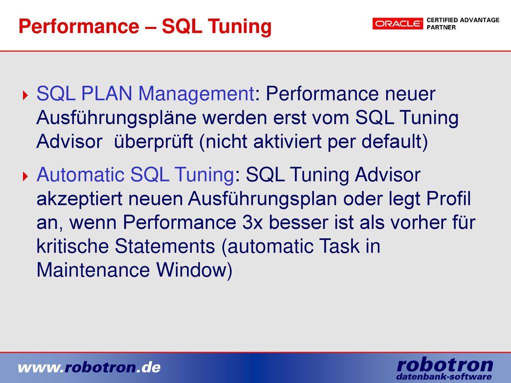 Performance – SQL Tuning