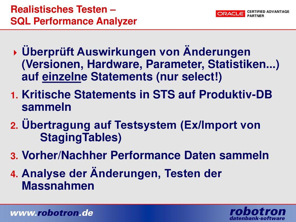 Realistisches Testen – SQL Performance Analyzer