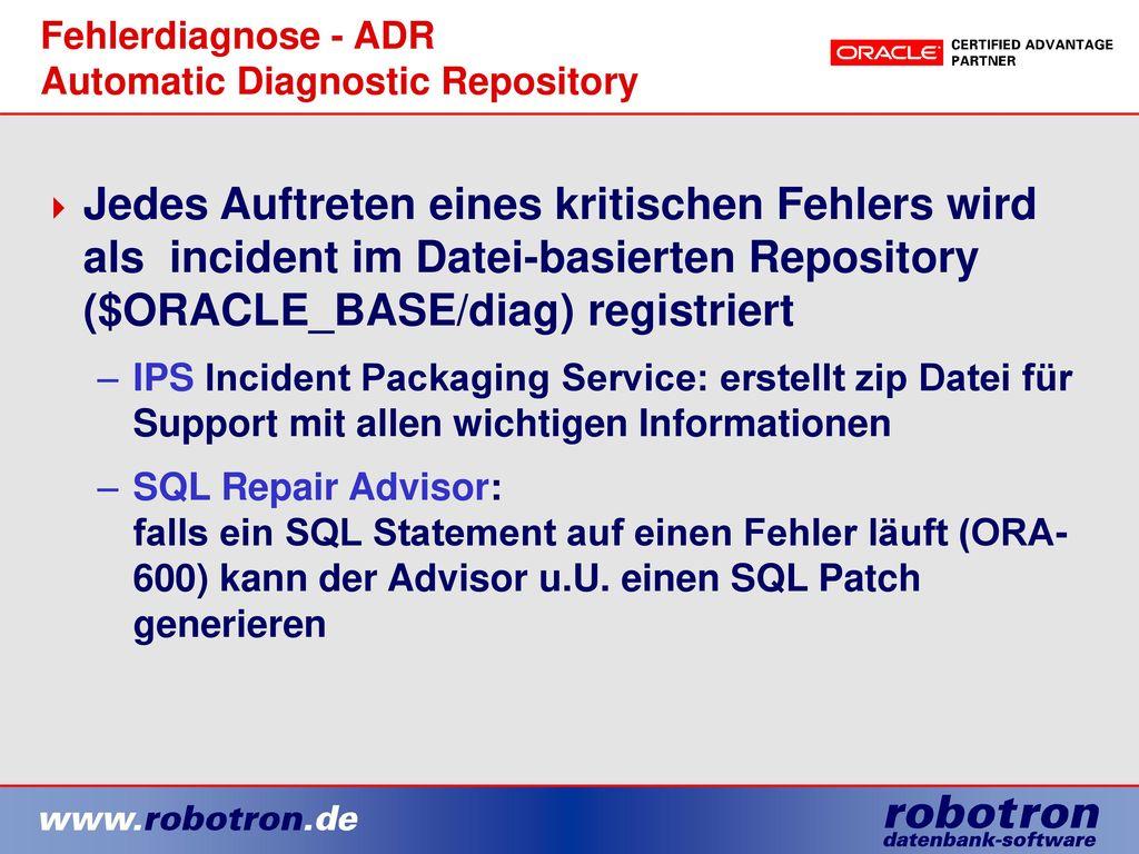 Fehlerdiagnose - ADR Automatic Diagnostic Repository