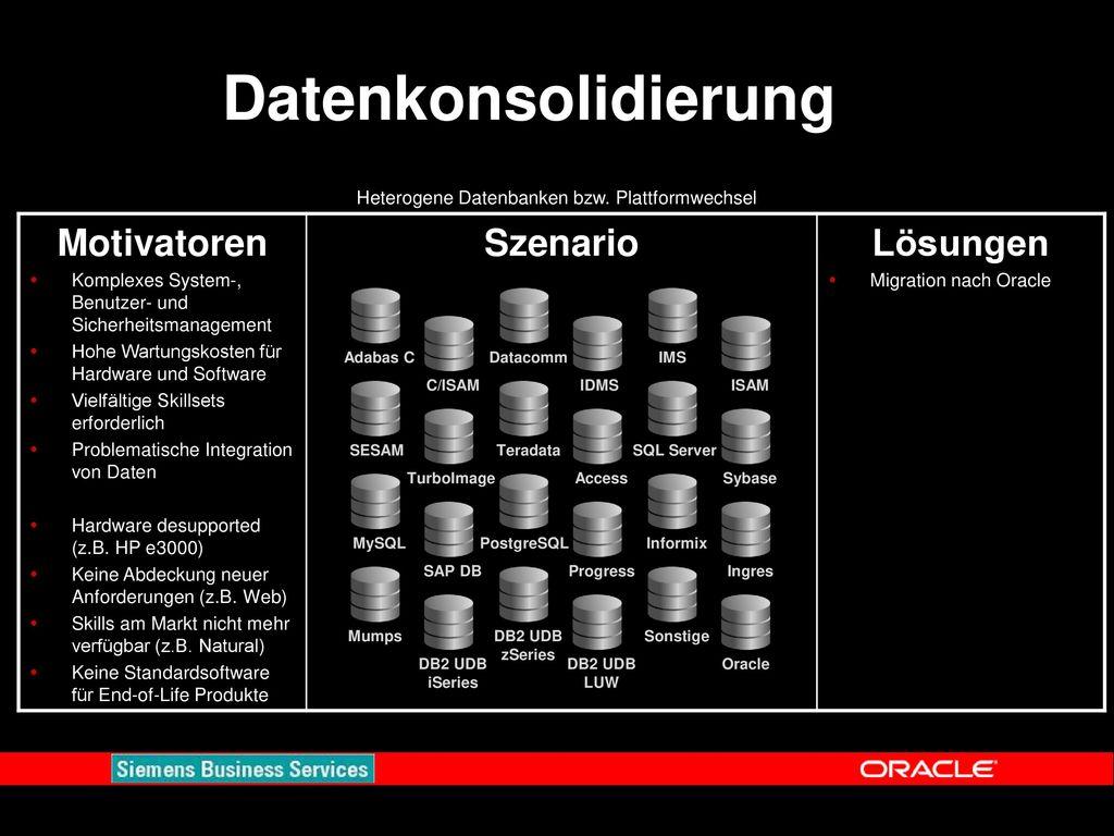 Heterogene Datenbanken bzw. Plattformwechsel
