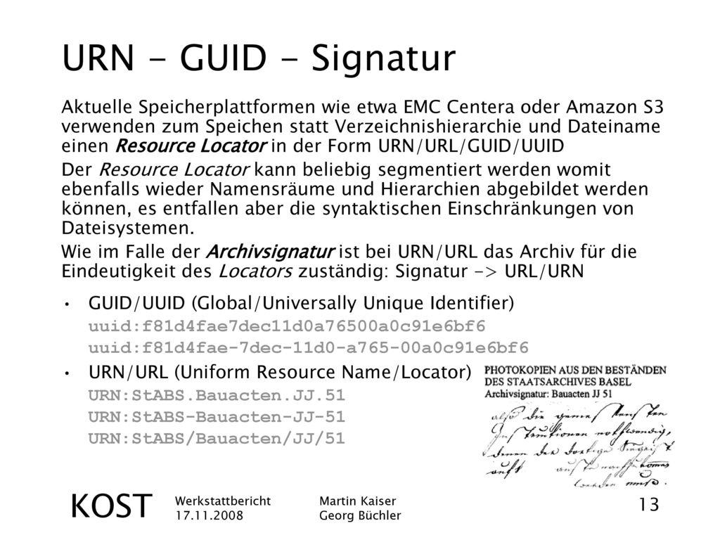 URN - GUID - Signatur KOST