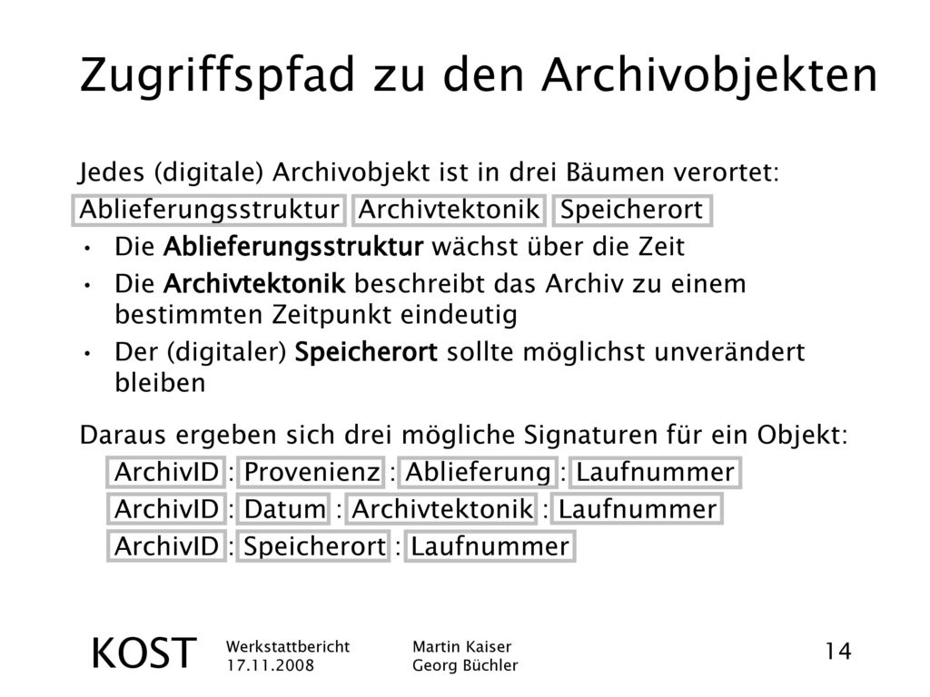 Zugriffspfad zu den Archivobjekten