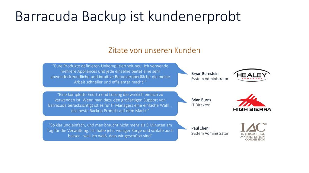 Barracuda Backup ist kundenerprobt