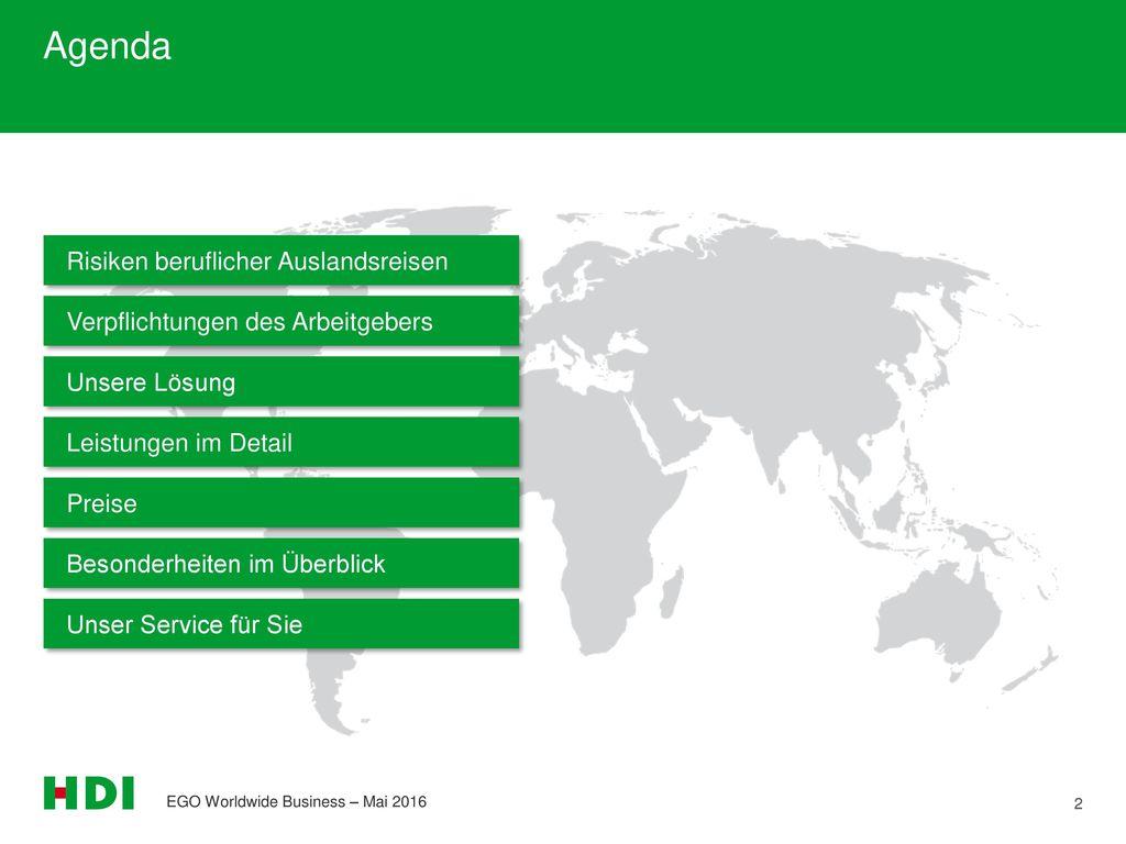 Agenda Risiken beruflicher Auslandsreisen
