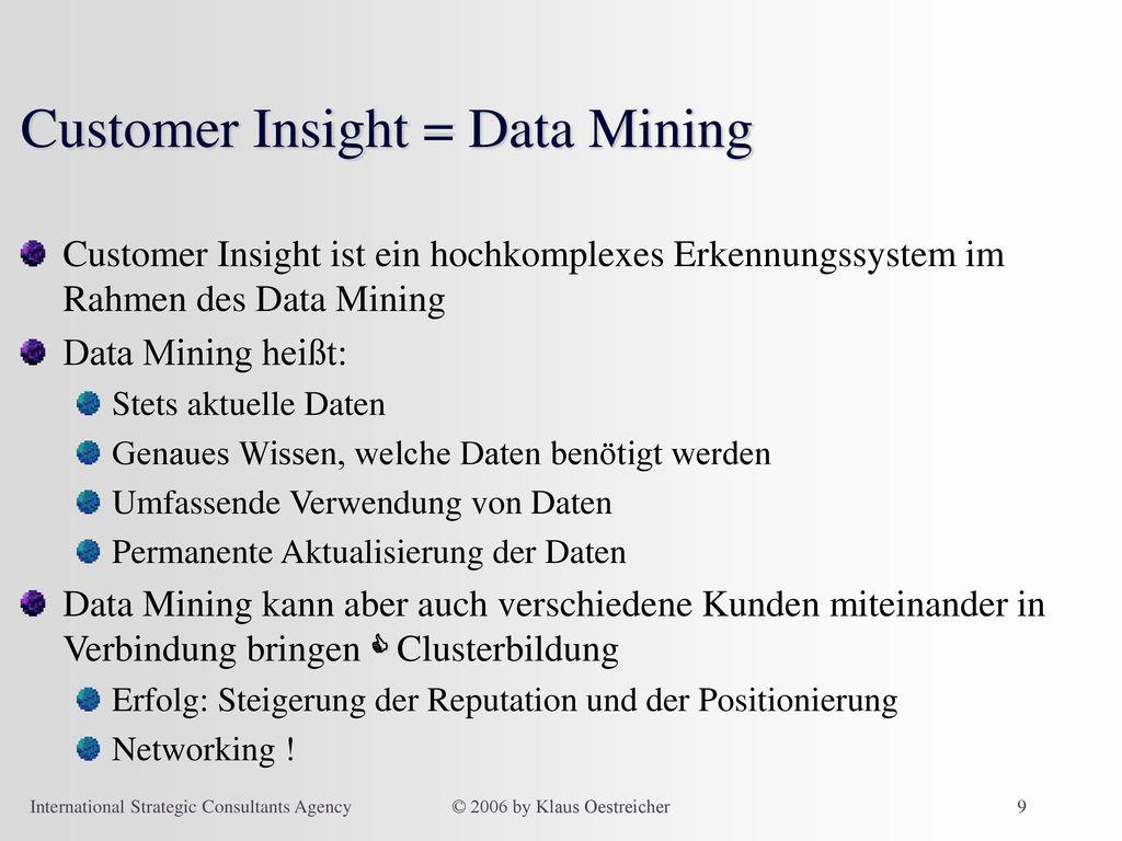 Customer Insight = Data Mining