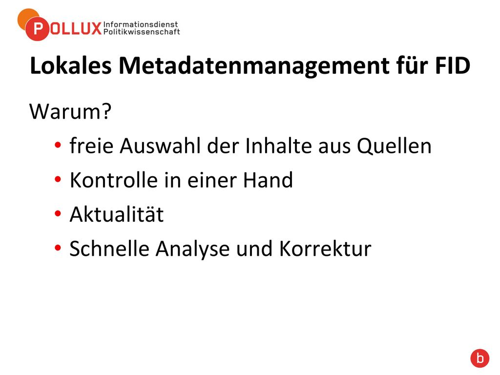 Lokales Metadatenmanagement für FID