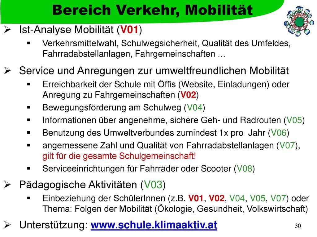 Bereich Verkehr, Mobilität