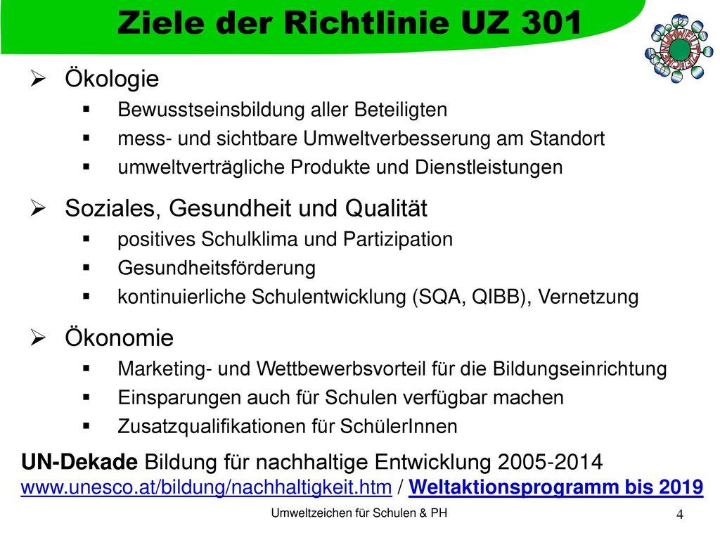Ziele der Richtlinie UZ 301
