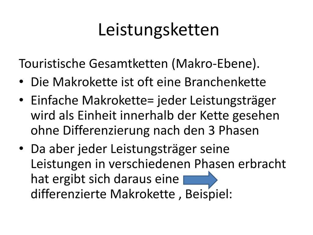 Leistungsketten Touristische Gesamtketten (Makro-Ebene).