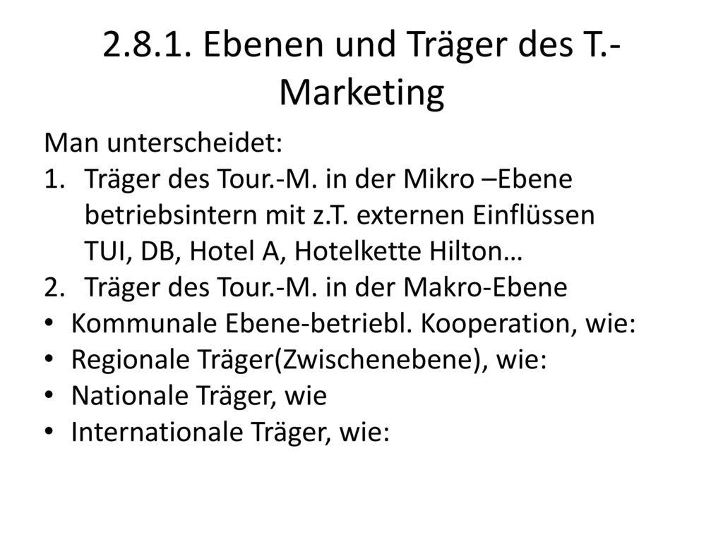 2.8.1. Ebenen und Träger des T.-Marketing