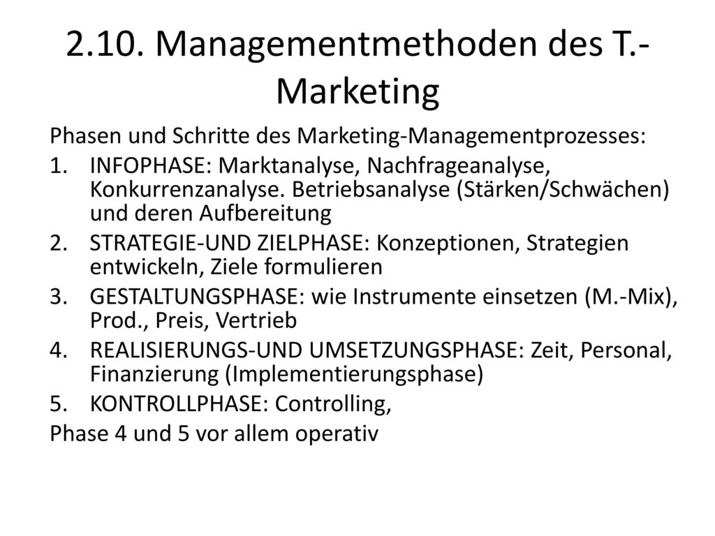 2.10. Managementmethoden des T.-Marketing
