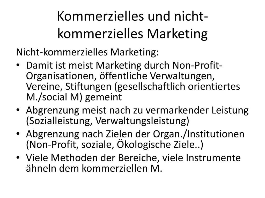 Kommerzielles und nicht-kommerzielles Marketing