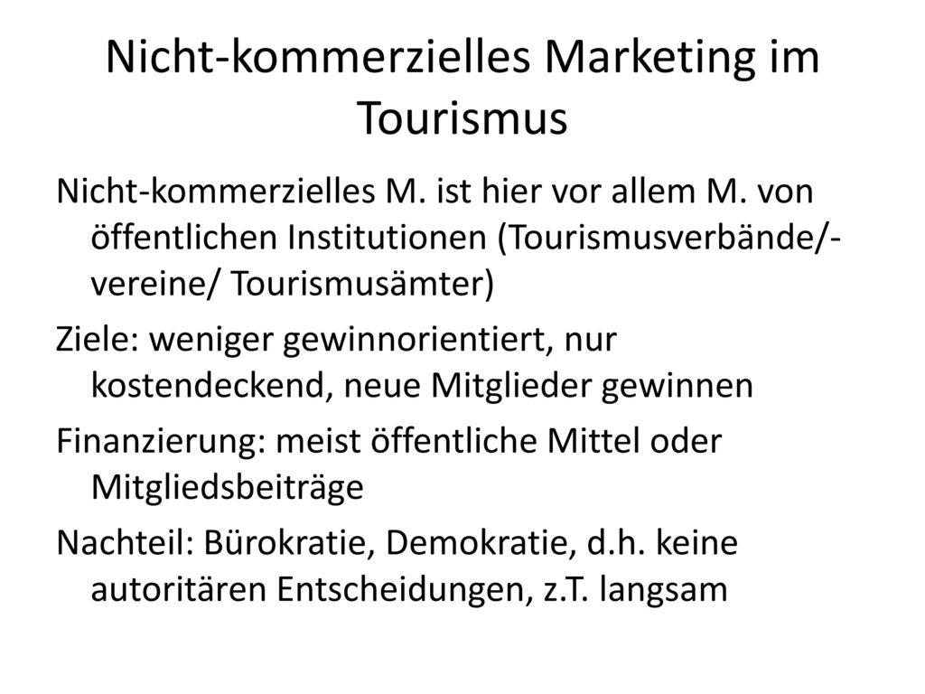 Nicht-kommerzielles Marketing im Tourismus
