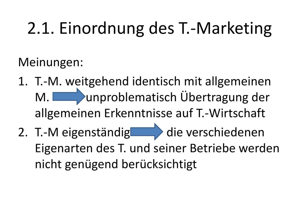 2.1. Einordnung des T.-Marketing