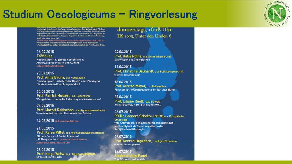 Studium Oecologicums - Ringvorlesung