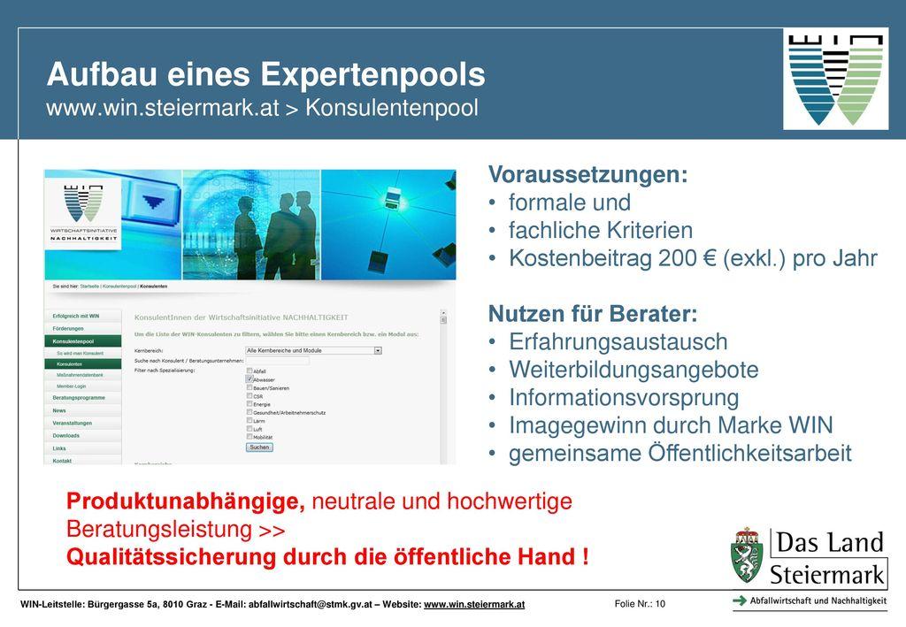 Aufbau eines Expertenpools www.win.steiermark.at > Konsulentenpool