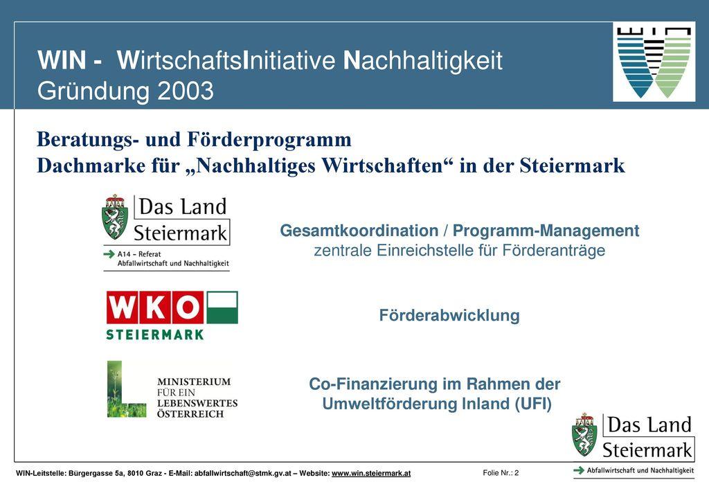 WIN - WirtschaftsInitiative Nachhaltigkeit Gründung 2003