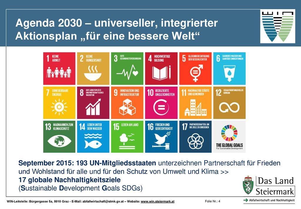 """Agenda 2030 – universeller, integrierter Aktionsplan """"für eine bessere Welt"""