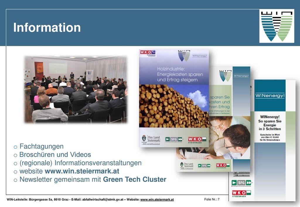 Information Fachtagungen Broschüren und Videos