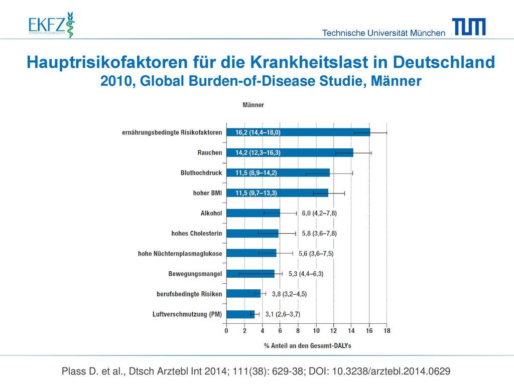 Hauptrisikofaktoren für die Krankheitslast in Deutschland 2010, Global Burden-of-Disease Studie, Männer