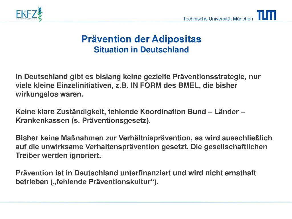 Prävention der Adipositas Situation in Deutschland