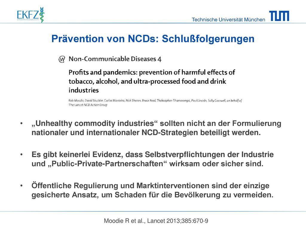 Prävention von NCDs: Schlußfolgerungen
