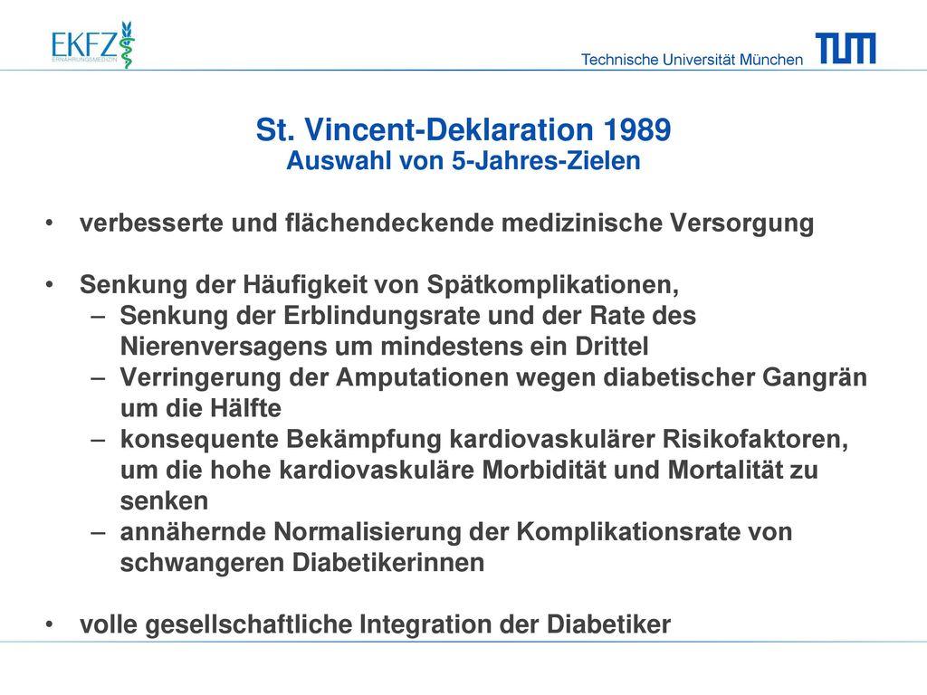 St. Vincent-Deklaration 1989 Auswahl von 5-Jahres-Zielen