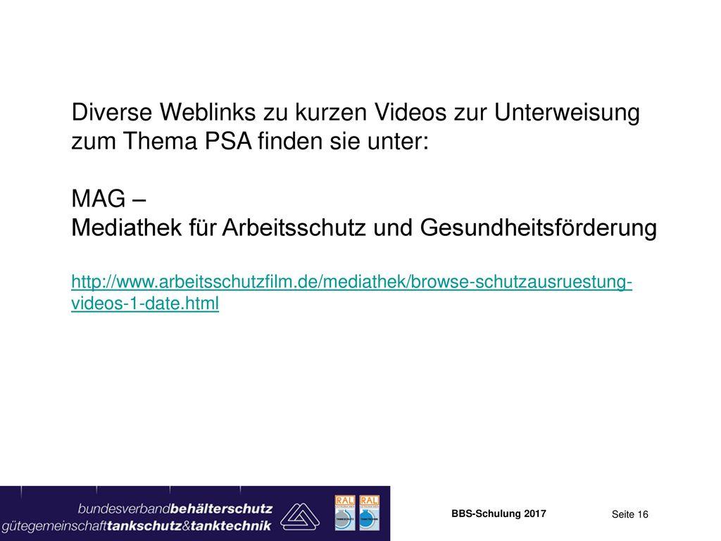 Diverse Weblinks zu kurzen Videos zur Unterweisung