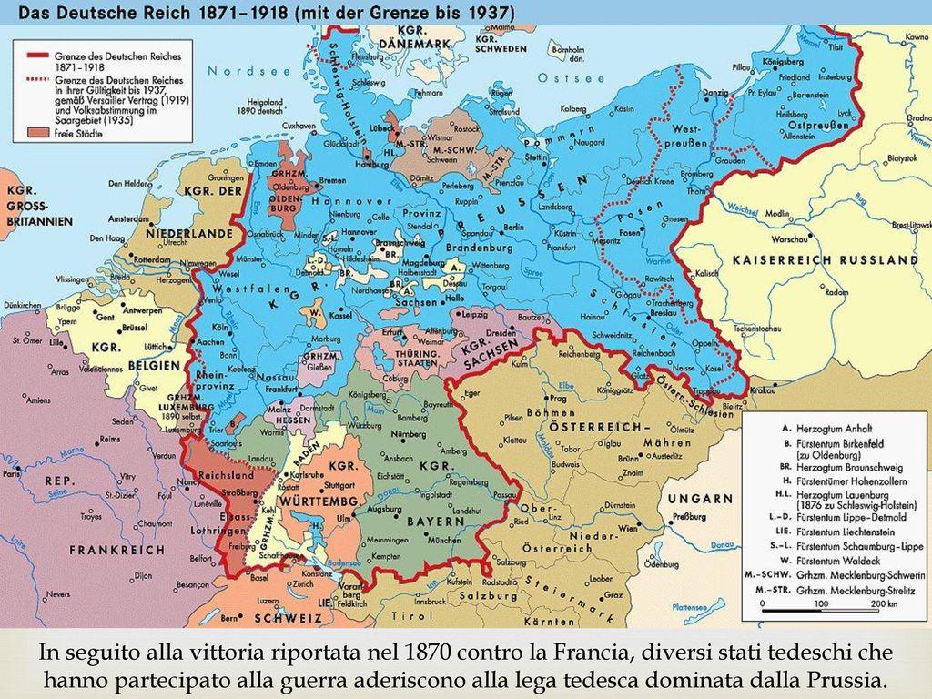In seguito alla vittoria riportata nel 1870 contro la Francia, diversi stati tedeschi che hanno partecipato alla guerra aderiscono alla lega tedesca dominata dalla Prussia.