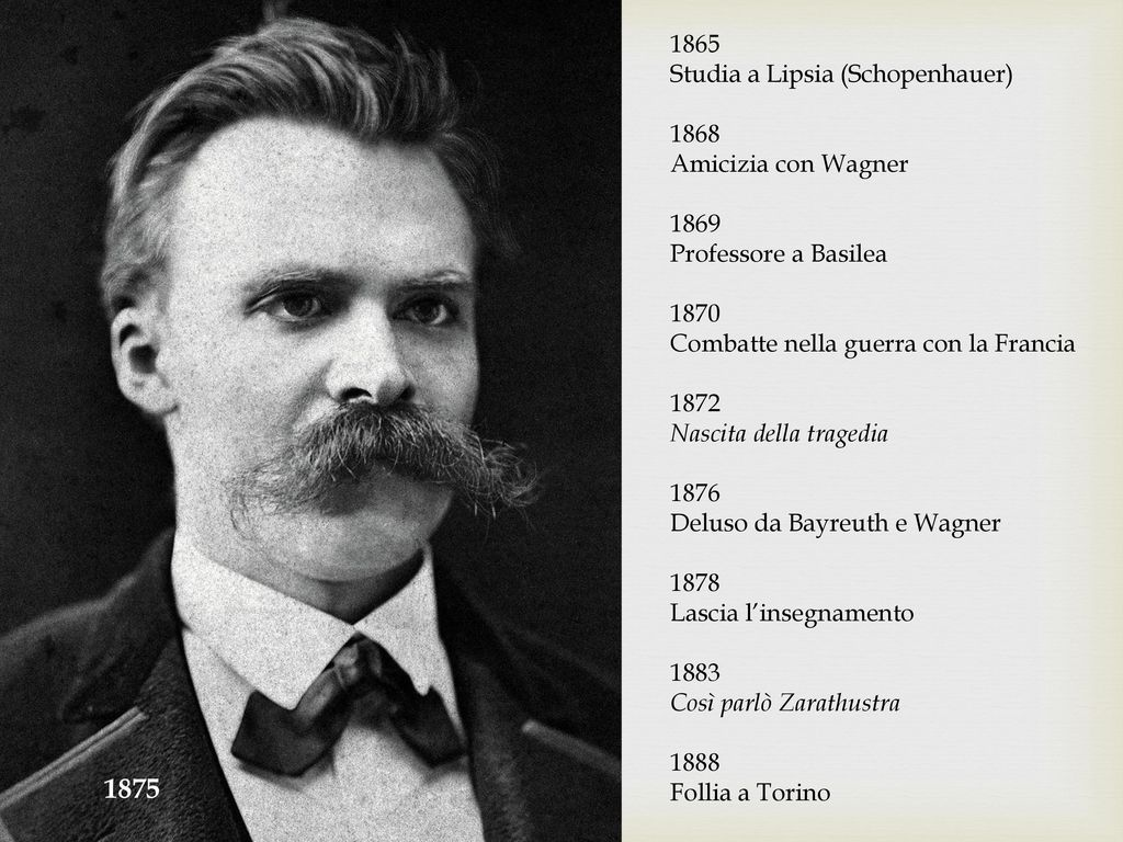 1875 1865 Studia a Lipsia (Schopenhauer) 1868 Amicizia con Wagner 1869